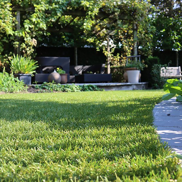 Beplanting en kunstgras tuin